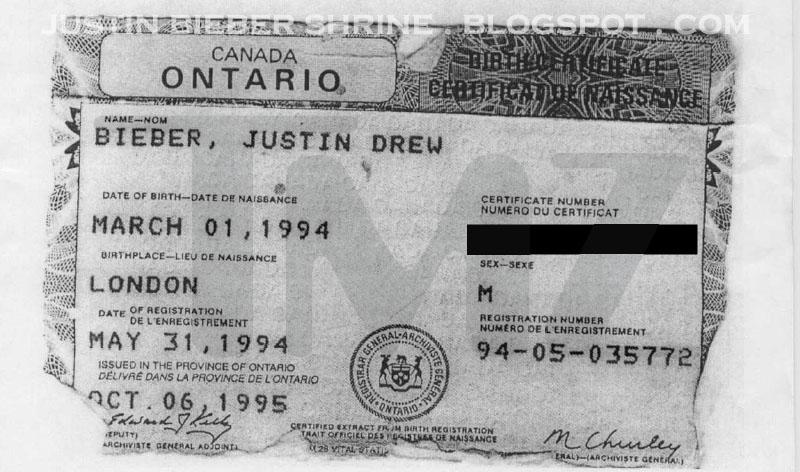 Justin Bieber's Birth Certificate