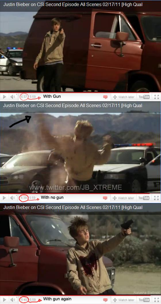 justin bieber getting shot on csi. right before he gets shot.