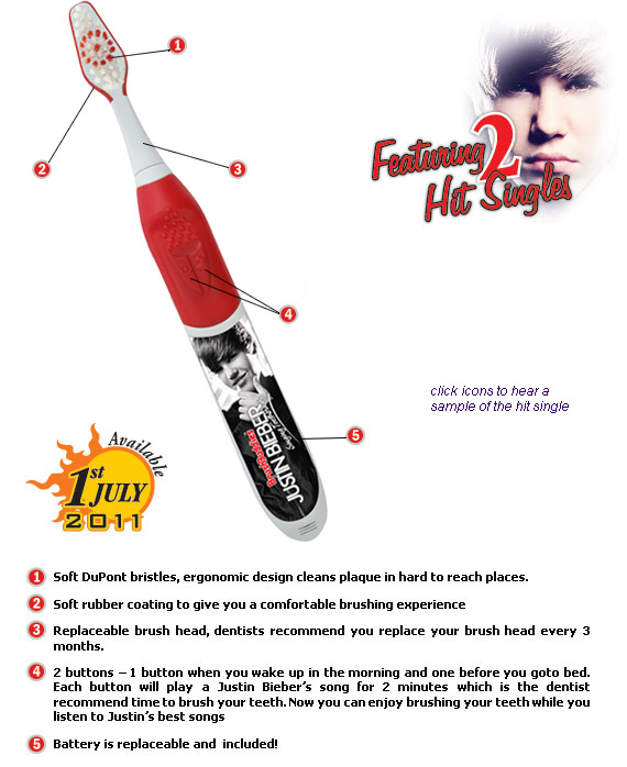 justinbieber singing boothbrush 02 New Justin Bieber Singing Toothbrush & Floss 2011