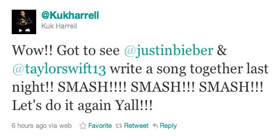 taylorswift tweet Taylor Swift and Justin Bieber working together on new album 2011