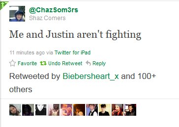 justin bieber chaz somers fight tweet Did Justin and Chaz Somers fight because of Selena Gomez? 2011