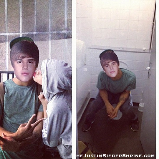 rihanna kissing justin bieber on the toilet instagram